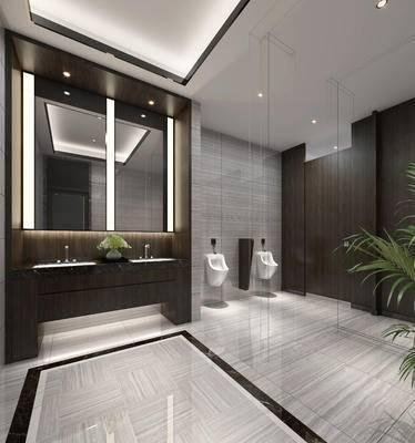 现代卫生间, 洗手台, 小便器, 镜子, 现代