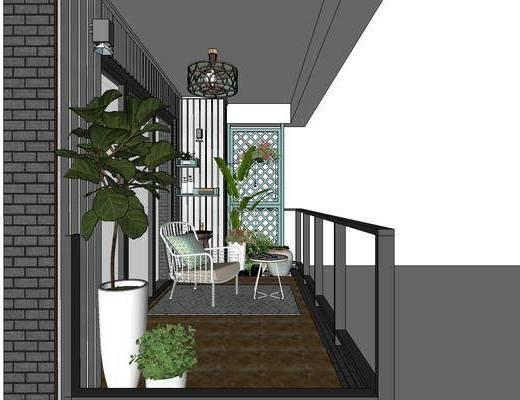中式阳台花园, 阳台花园