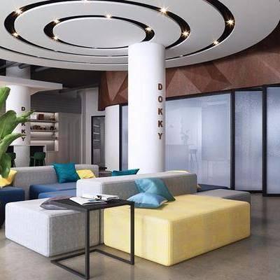休息区, 多人沙发, 边几, 盆栽, 桌子, 椅子, 置物柜, 吊灯, 现代