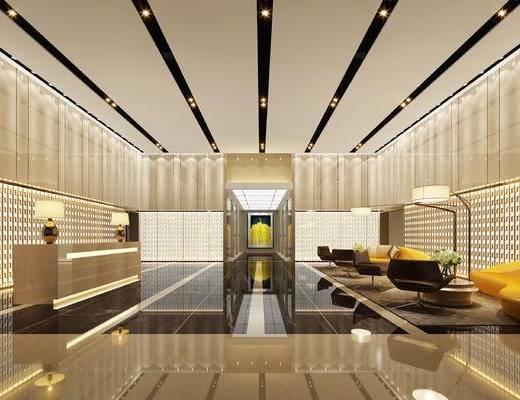 现代前台, 多人沙发, 落地灯, 茶几, 台灯, 现代