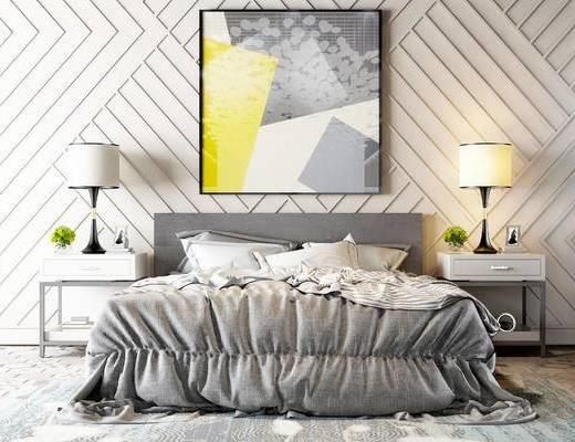 双人床, 边几, 台灯, 壁画, 现代