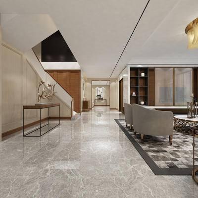 玄关走道, 边几, 椅子, 置物柜, 茶几, 吊灯, 边柜, 现代