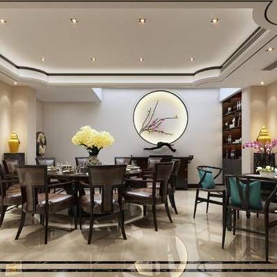 中式包间, 桌子, 椅子, 边柜, 壁画, 花瓶, 中式