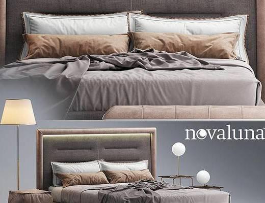 后现代, 床, 圆几, 台灯, 落地灯