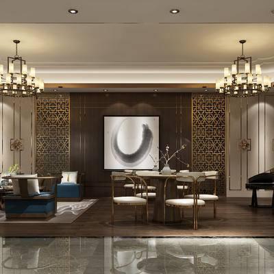 中式客餐厅, 多人沙发, 吊灯, 茶几, 边几, 台灯, 桌子, 椅子, 壁画, 置物柜, 花瓶, 中式