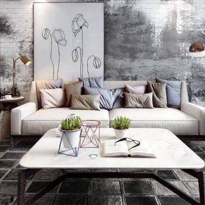 现代, 客厅, 餐厅, 沙发, 茶几, 落地灯, 盆栽, 书本, 眼镜, 1000套空间酷赠送模型