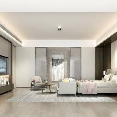 欧式卧室, 双人床, 欧式沙发, 茶几, 电视柜, 吊灯, 边几, 落地灯, 壁画, 地毯, 欧式