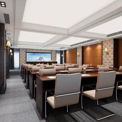 现代会议室, 椅子, 桌子, 壁灯, 现代