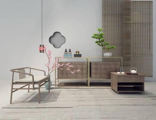 新中式, 吊灯, 盆栽, 桌子, 花瓶, 茶具, 椅子