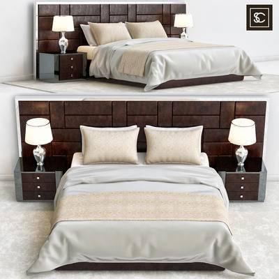 新中式, 双人床, 台灯, 边柜