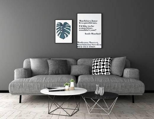 沙发组合, 壁画, 多人沙发, 现代