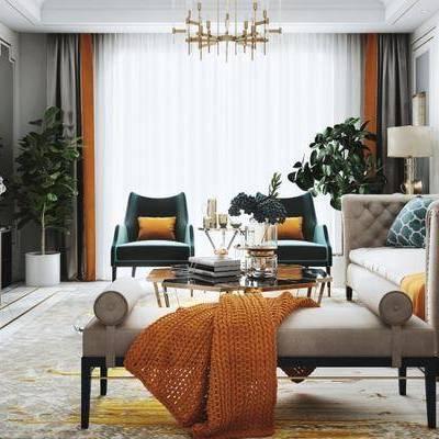 现代客厅, 吊灯, 电视柜, 多人沙发, 椅子, 茶几, 台灯, 沙发躺椅, 地毯, 现代