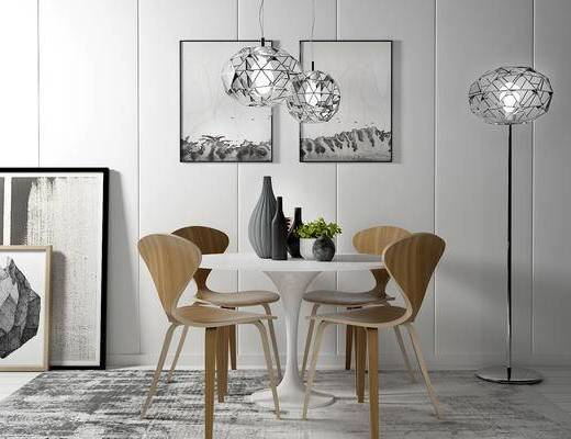 桌椅组合, 桌子, 椅子, 落地灯, 壁画, 吊灯, 现代
