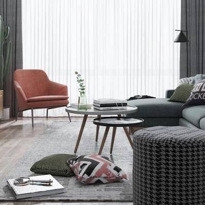 北欧客厅, 多人沙发, 茶几, 椅子, 壁画, 电视柜, 落地灯, 边柜, 边几, 沙发凳, 地毯, 北欧