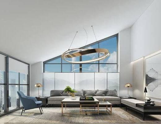 现代, 接待室, 沙发, 茶几, 吊灯, 挂画, 茶具, 盆栽, 台灯