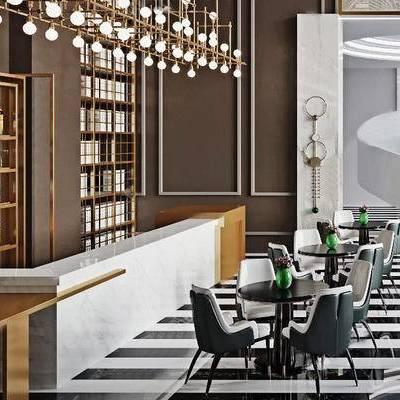 现代千亿国际app|娱乐网站, 休息区, 桌椅组合, 吊灯, 置物架, 1000套空间酷赠送模型