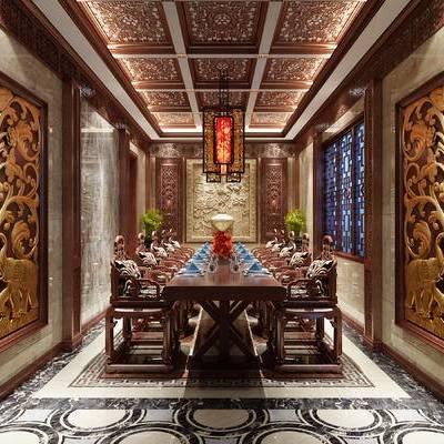 中式包间, 桌子, 椅子, 吊灯, 壁画, 中式