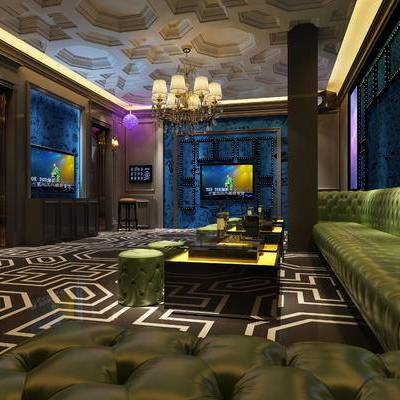 KTV, 多人沙发, 茶几, 吊灯, 凳子, 现代