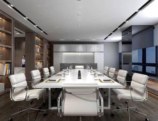 现代办公室, 办公区, 会议室, 办公桌椅组合, 储物柜, 现代