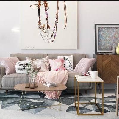 沙发组合, 多人沙发, 茶几, 边几, 边柜, 吊灯, 壁画, 椅子, 地毯, 北欧