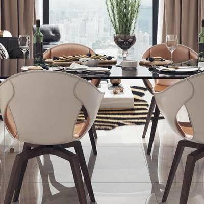 现代客厅, 桌子, 椅子, 多人沙发, 茶几, 现代