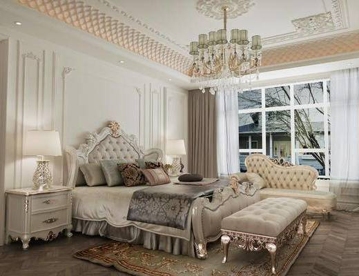 欧式卧室, 床, 床头柜, 台灯, 床尾塌, 贵妃椅, 吊灯, 地毯, 欧式