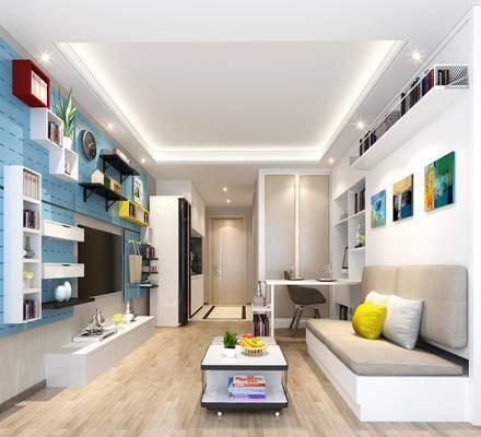 简欧公寓, 多人沙发, 壁画, 茶几, 桌子, 置物柜, 电视柜, 椅子, 简欧