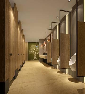 现代卫生间, 小便器, 壁画, 洗手台, 吊灯, 现代