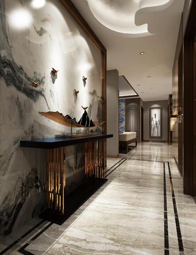 玄关走廊, 边几, 壁画, 多人沙发, 中式