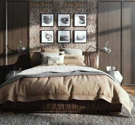 美式简约, 床具组合, 台灯, 装饰画