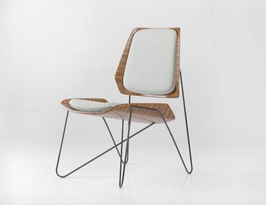 现代简约, 椅子, 木纹椅子