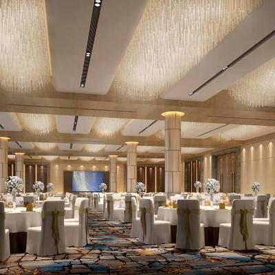 宴会厅, 桌子, 椅子, 花瓶, 现代