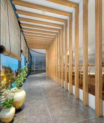 走廊过道, 椅子, 花瓶, 新中式