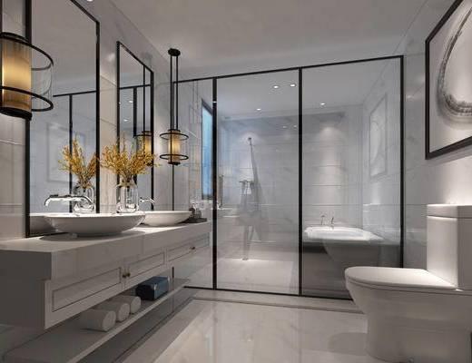 现代简约, 卫生间, 吊灯, 镜子, 洗手台
