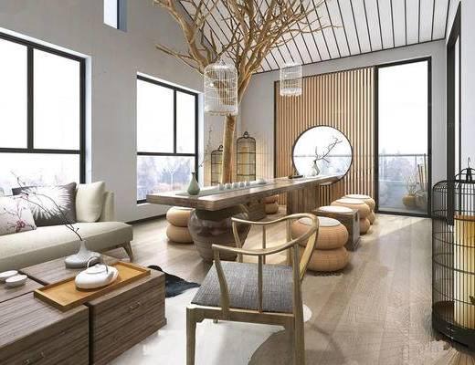 新中式, 茶室, 沙发, 茶几, 茶桌, 茶具, 椅子, 陈设品