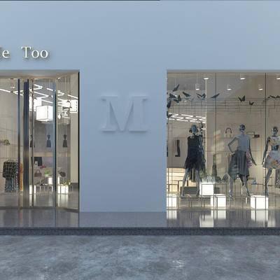 现代, 服装店, 橱窗, 衣服, 门头, 吊灯, 壁灯, 1000套空间酷赠送模型