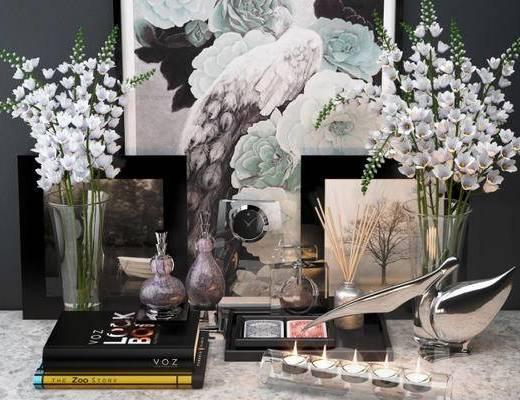 简欧, 陈设品组合, 香水, 花瓶, 蜡烛