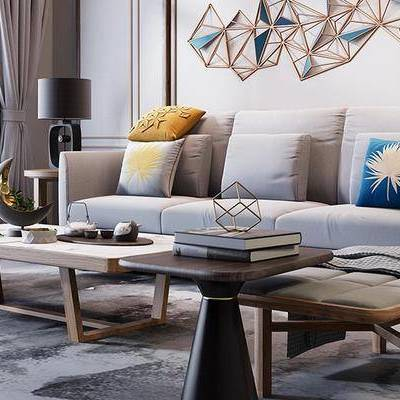 现代客厅, 多人沙发, 茶几, 边几, 台灯, 壁画, 椅子, 现代