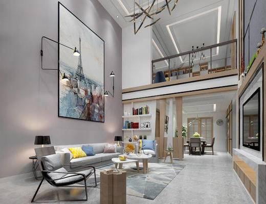 现代客厅, 壁画, 多人沙发, 茶几, 电视柜, 壁灯, 椅子, 边几, 台灯, 置物柜, 现代