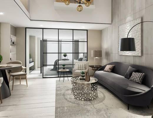 现代公寓, 多人沙发, 落地灯, 椅子, 边几, 茶几, 壁画, 台灯, 桌子, 现代