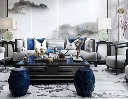 新中式客厅, 壁画, 多人沙发, 茶几, 椅子, 边几, 台灯, 凳子, 花瓶, 新中式