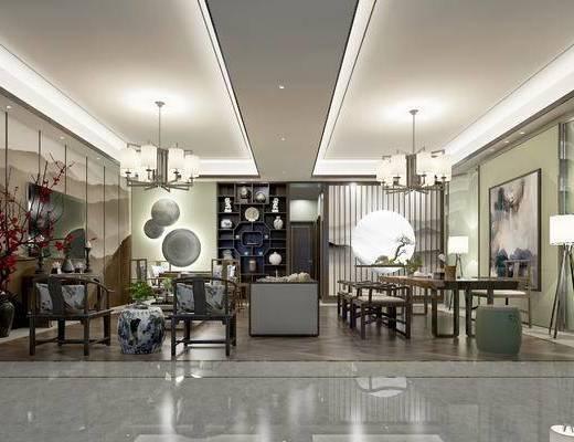 新中式客厅, 壁画, 吊灯, 多人沙发, 椅子, 置物柜, 落地灯, 桌子, 边几, 新中式