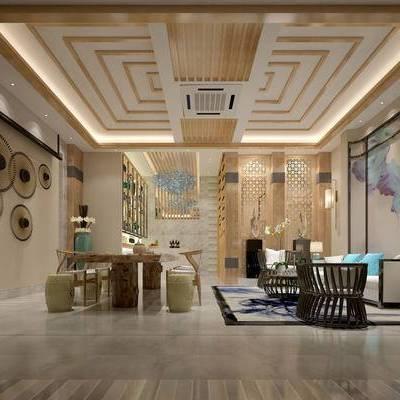 中式客厅, 桌子, 椅子, 壁画, 边几, 台灯, 壁灯, 茶几, 中式沙发, 置物柜, 花瓶, 地毯, 中式