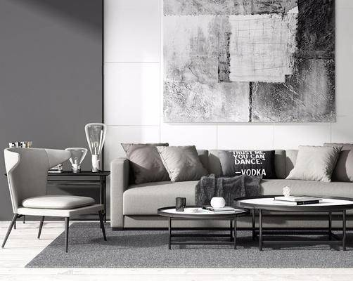 北欧简约, 沙发茶几组合, 台灯, 椅子