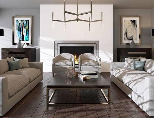 现代, 沙发, 茶几, 吊灯, 挂画