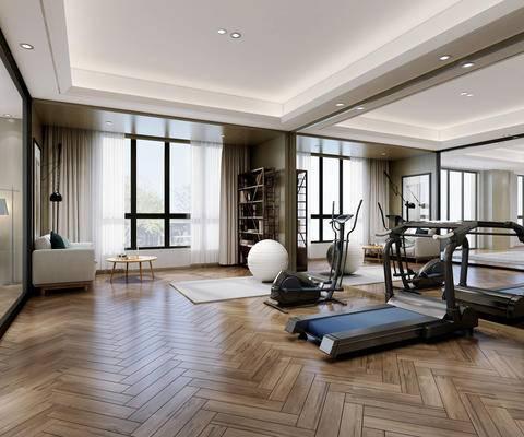 现代, 健身室, 器材, 镜子, 置物架, 沙发, 茶几, 摆件, 1000套空间酷赠送模型