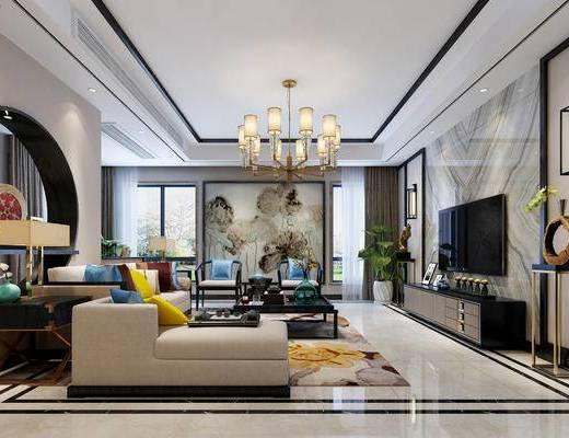 新中式, 客厅, 餐厅, 沙发, 茶几, 餐桌, 椅子, 吊灯, 壁灯, 电视柜, 盆栽
