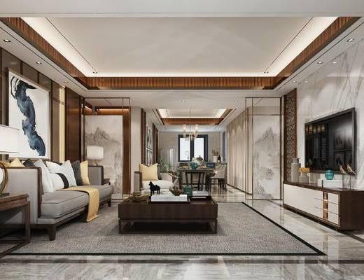 新中式客厅, 壁画, 边几, 多人沙发, 台灯, 茶几, 电视柜, 桌子, 椅子, 新中式