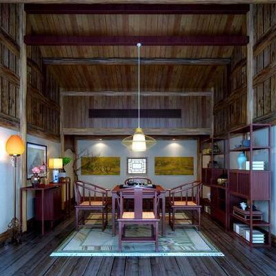 茶室, 吊灯, 桌子, 椅子, 壁画, 置物架, 地毯, 中式
