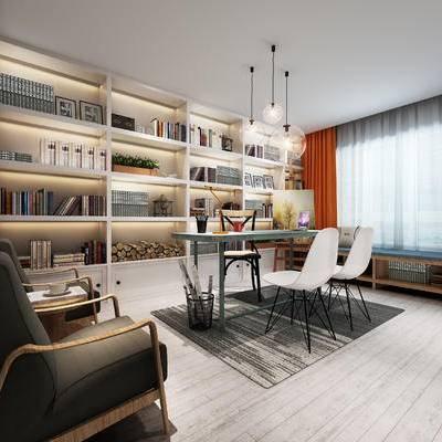 现代书房, 吊灯, 置物柜, 桌子, 椅子, 地毯, 现代